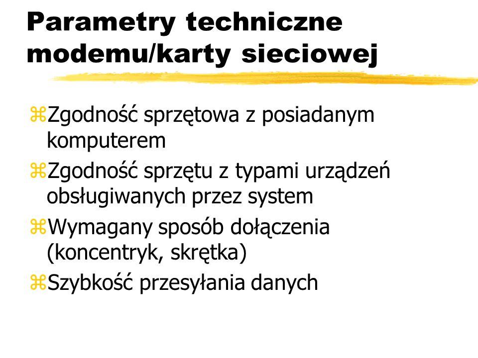 Parametry techniczne modemu/karty sieciowej