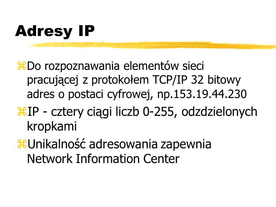 Adresy IP IP - cztery ciągi liczb 0-255, odzdzielonych kropkami