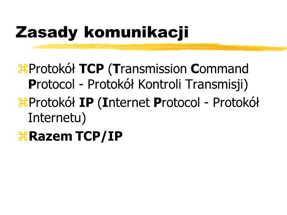 Zasady komunikacji Protokół TCP (Transmission Command Protocol - Protokół Kontroli Transmisji) Protokół IP (Internet Protocol - Protokół Internetu)