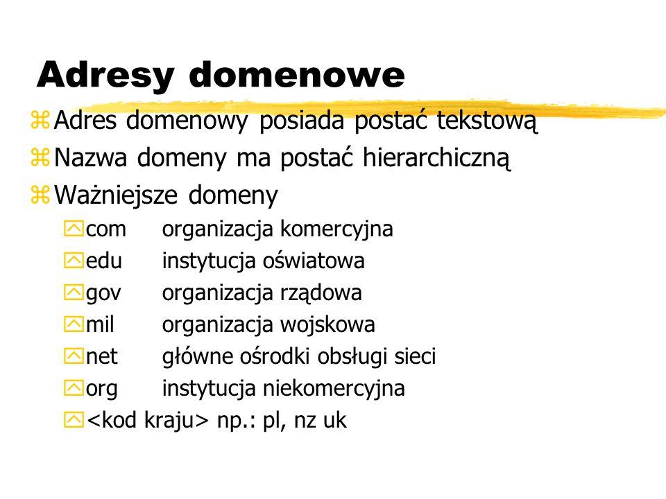 Adresy domenowe Adres domenowy posiada postać tekstową