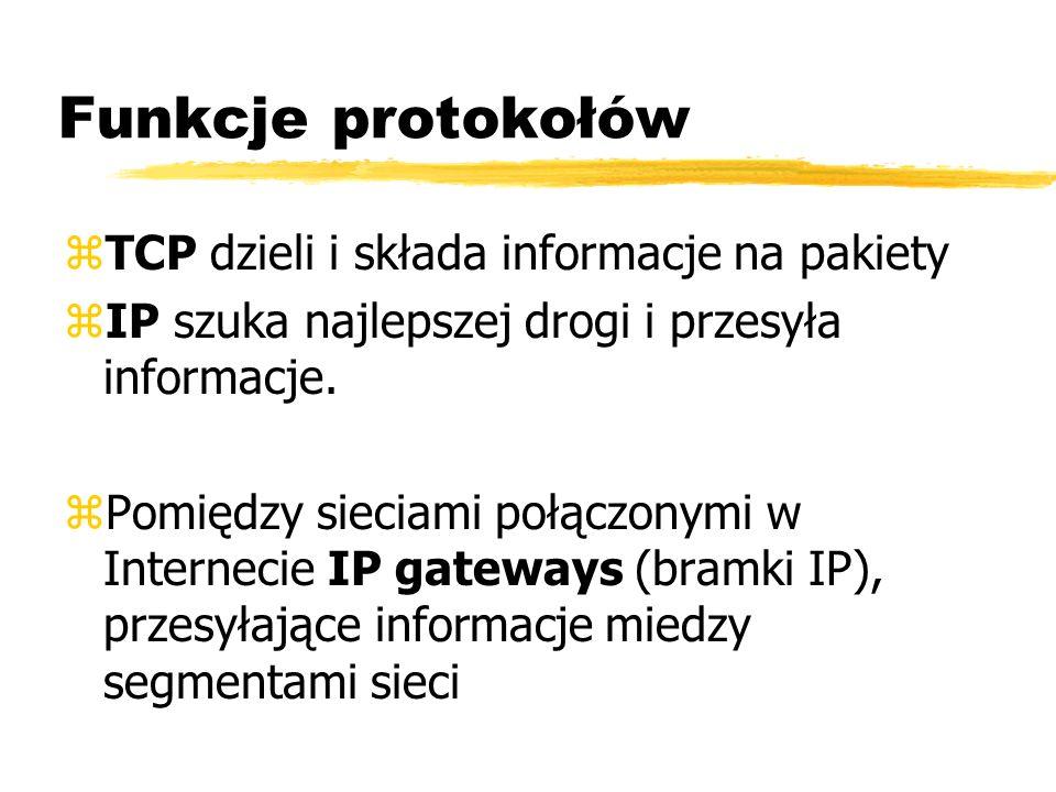 Funkcje protokołów TCP dzieli i składa informacje na pakiety