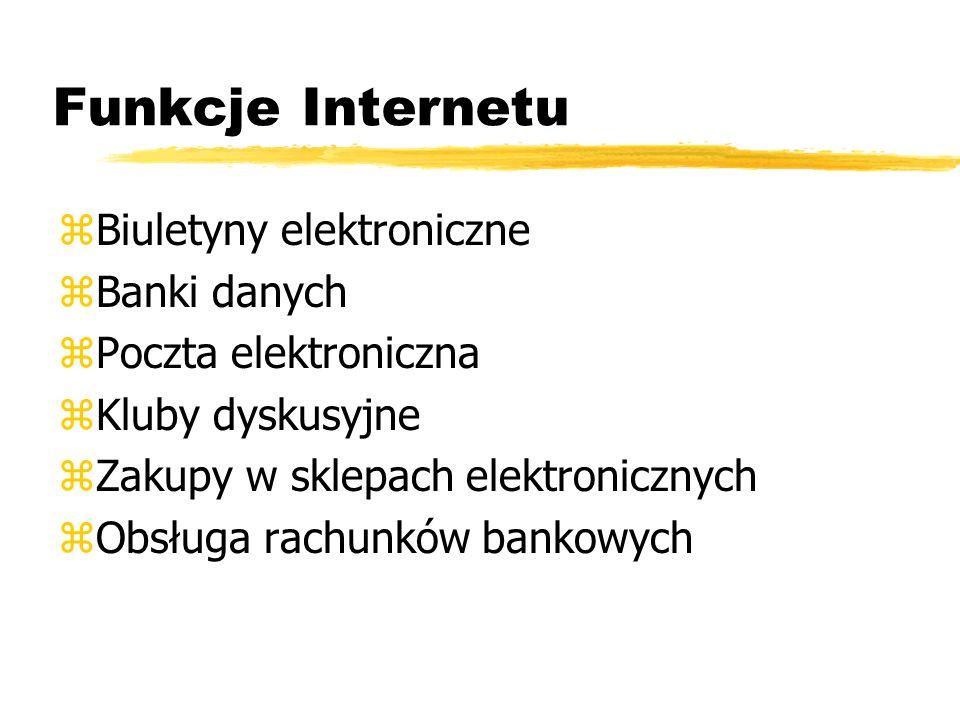 Funkcje Internetu Biuletyny elektroniczne Banki danych