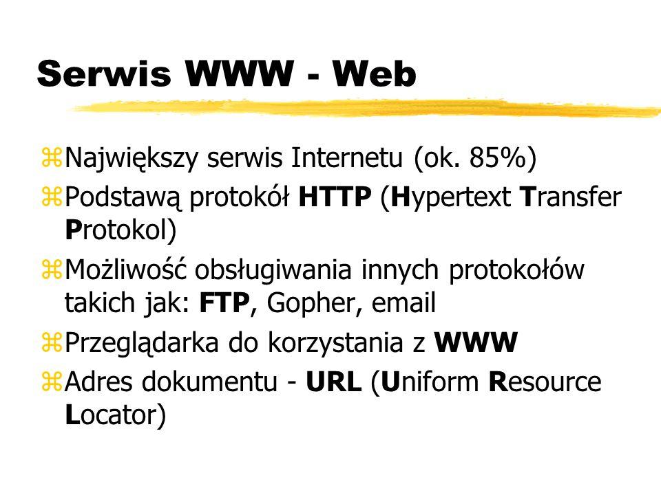 Serwis WWW - Web Największy serwis Internetu (ok. 85%)