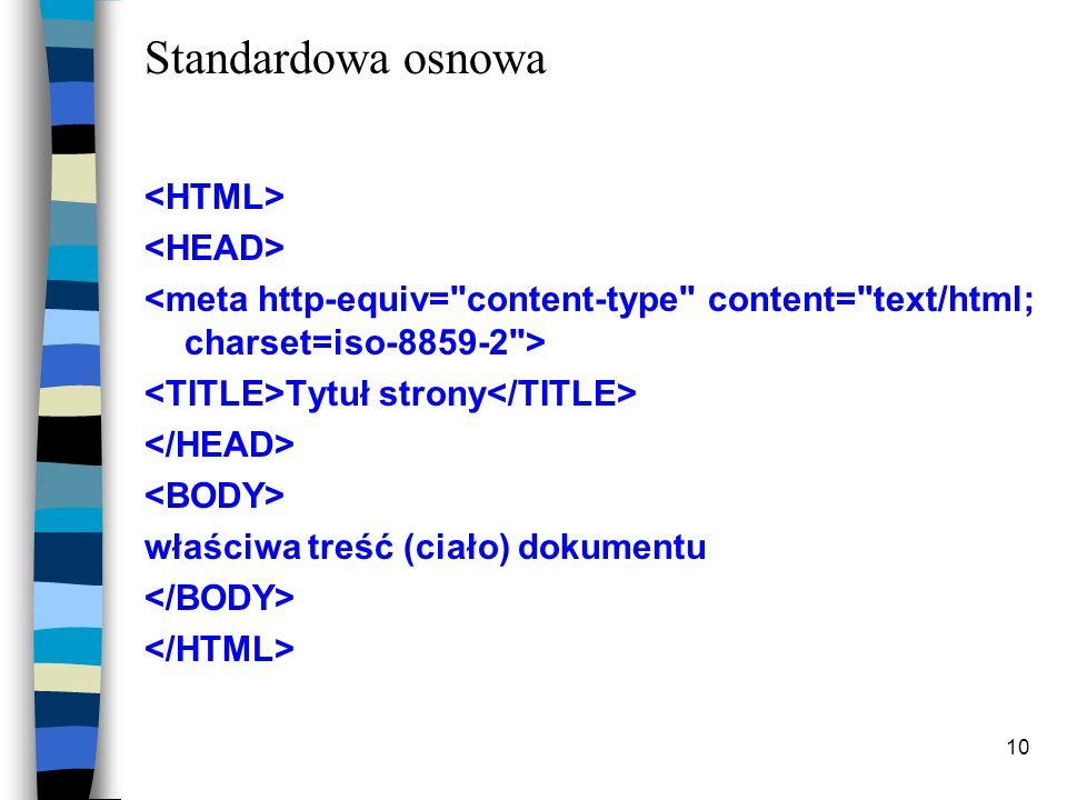 Standardowa osnowa <HTML> <HEAD>