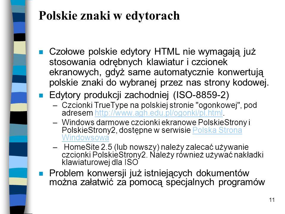 Polskie znaki w edytorach