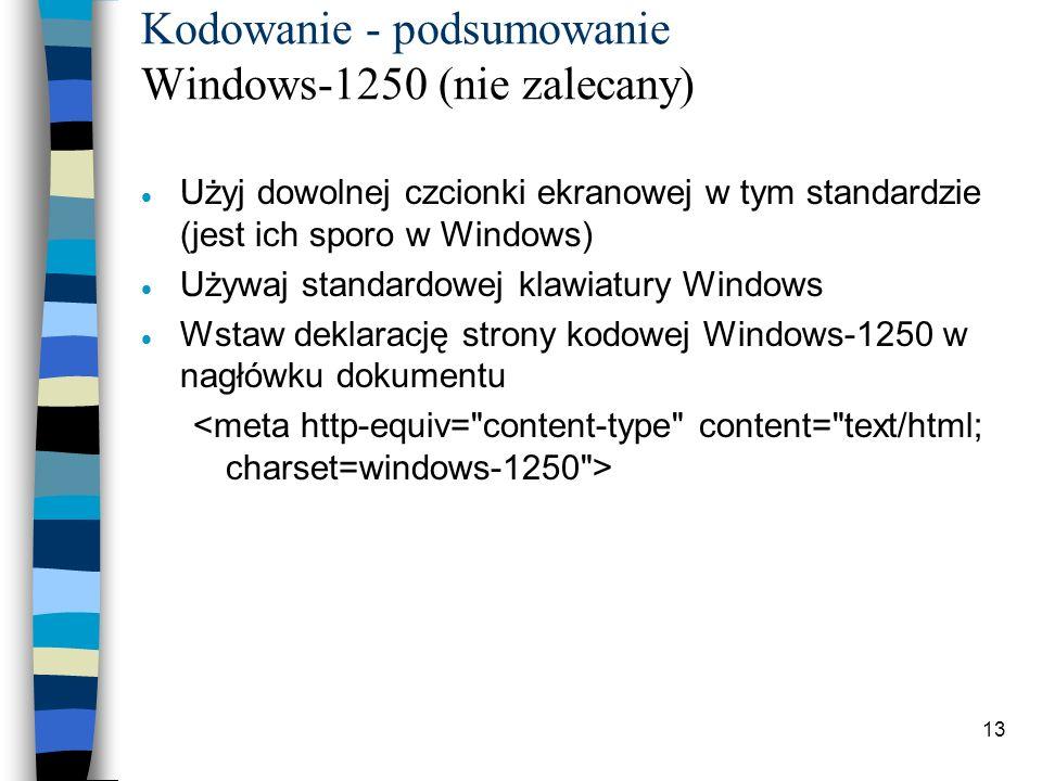 Kodowanie - podsumowanie Windows-1250 (nie zalecany)