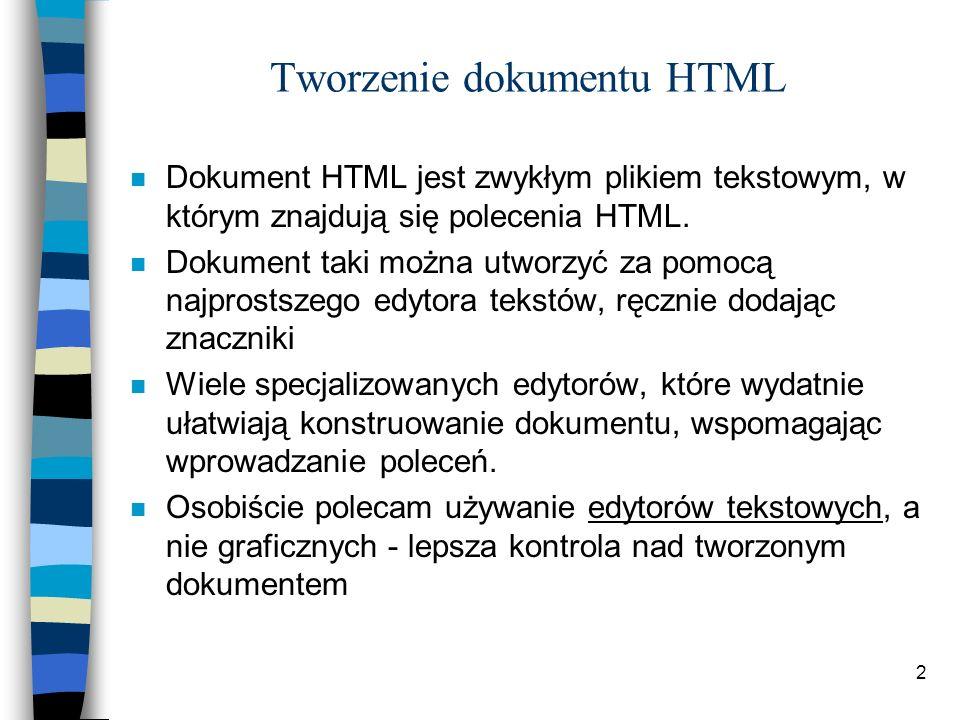 Tworzenie dokumentu HTML