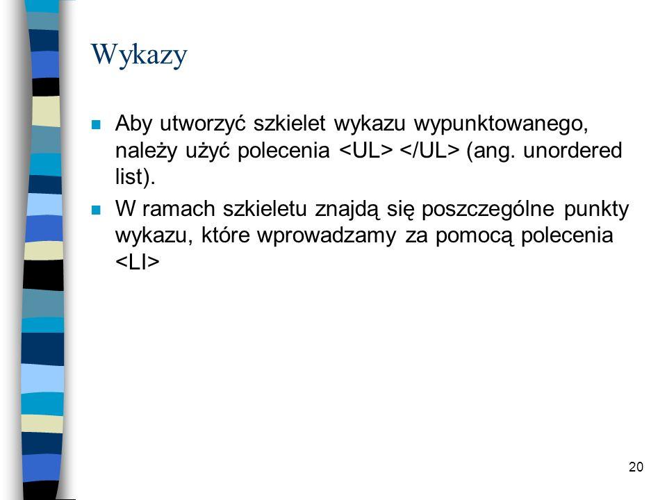 Wykazy Aby utworzyć szkielet wykazu wypunktowanego, należy użyć polecenia <UL> </UL> (ang. unordered list).