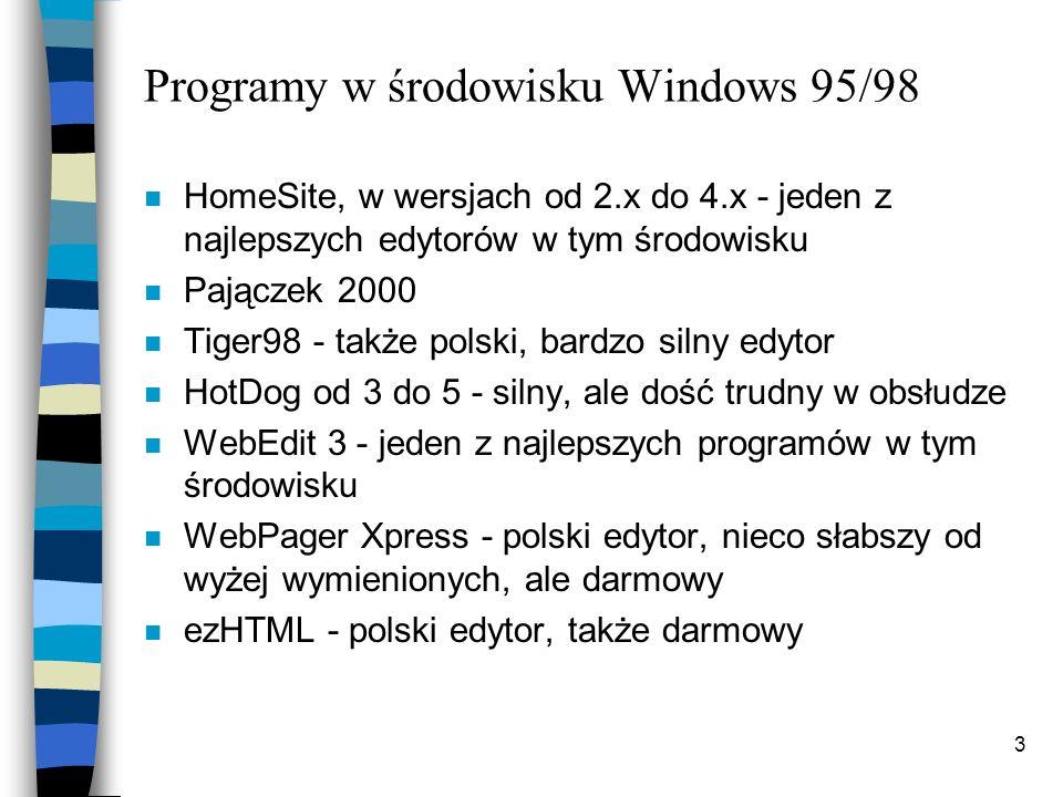 Programy w środowisku Windows 95/98