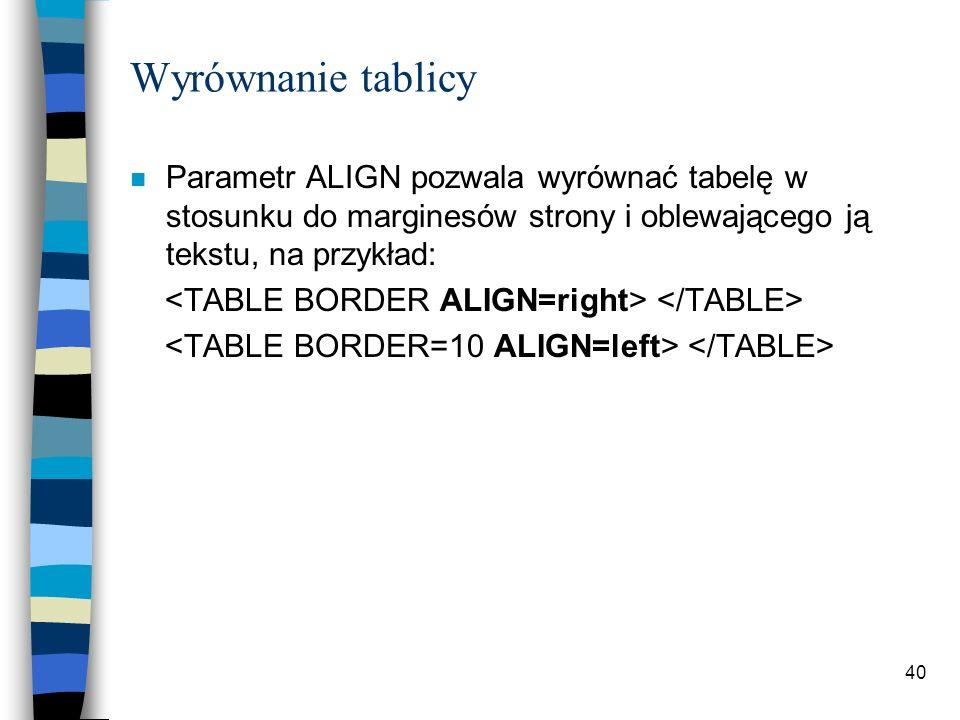 Wyrównanie tablicy Parametr ALIGN pozwala wyrównać tabelę w stosunku do marginesów strony i oblewającego ją tekstu, na przykład: