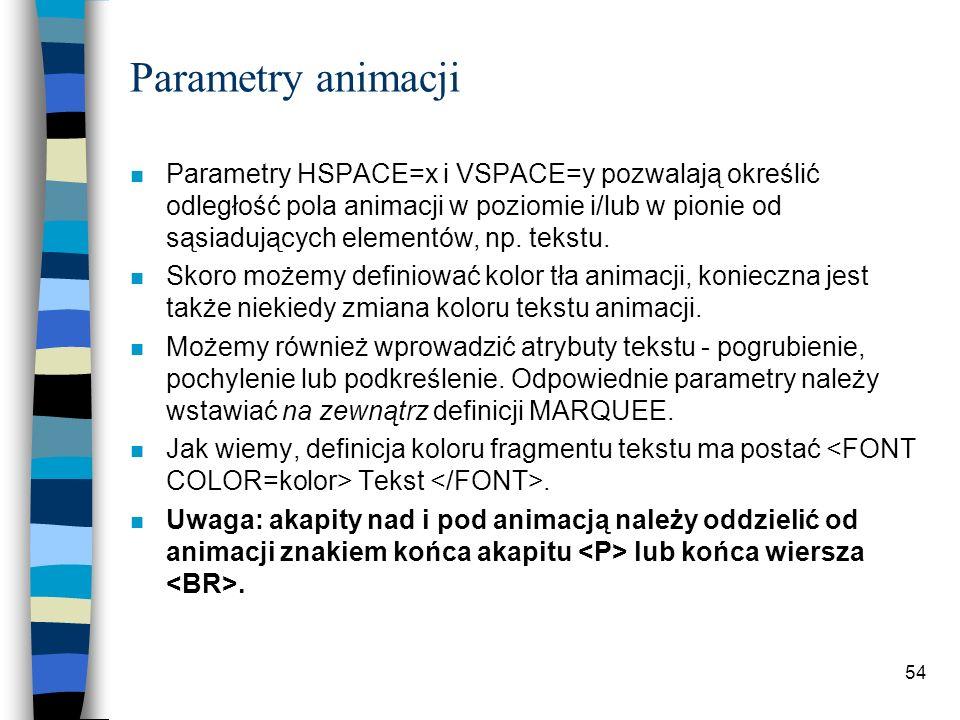Parametry animacji