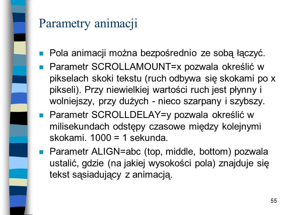 Parametry animacji Pola animacji można bezpośrednio ze sobą łączyć.