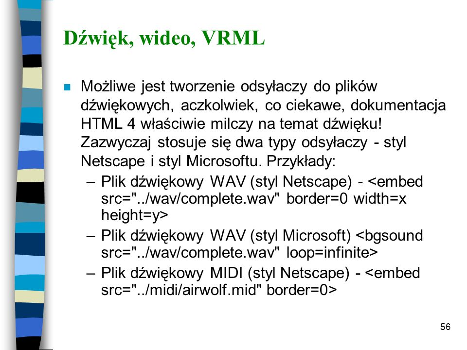 Dźwięk, wideo, VRML