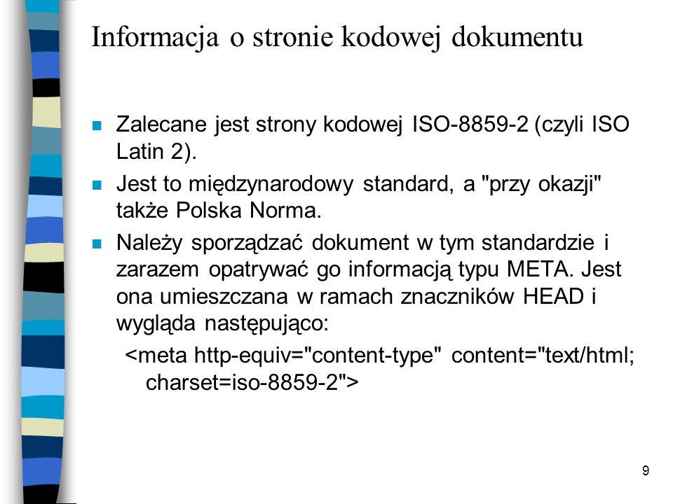 Informacja o stronie kodowej dokumentu