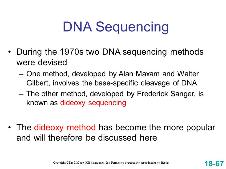 DNA Sequencing During the 1970s two DNA sequencing methods were devised.