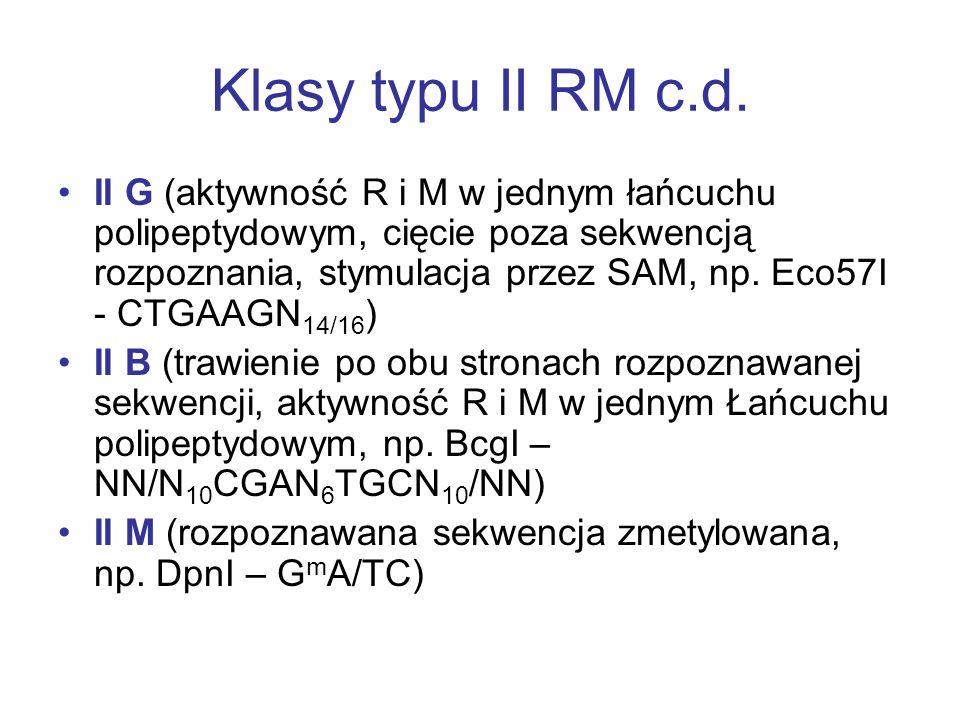 Klasy typu II RM c.d.