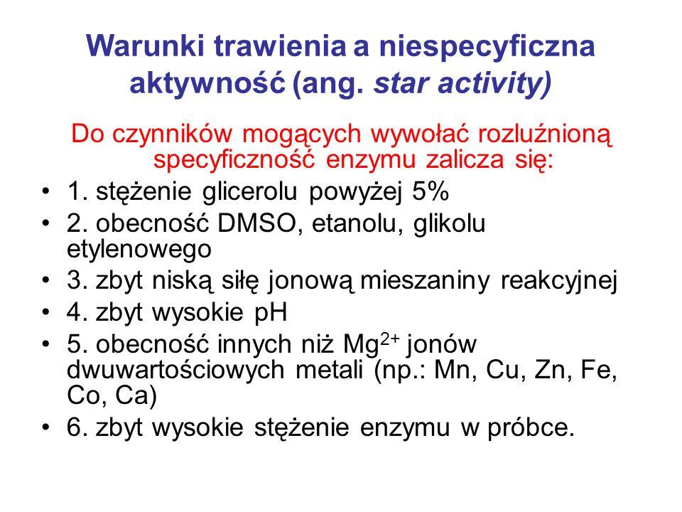 Warunki trawienia a niespecyficzna aktywność (ang. star activity)