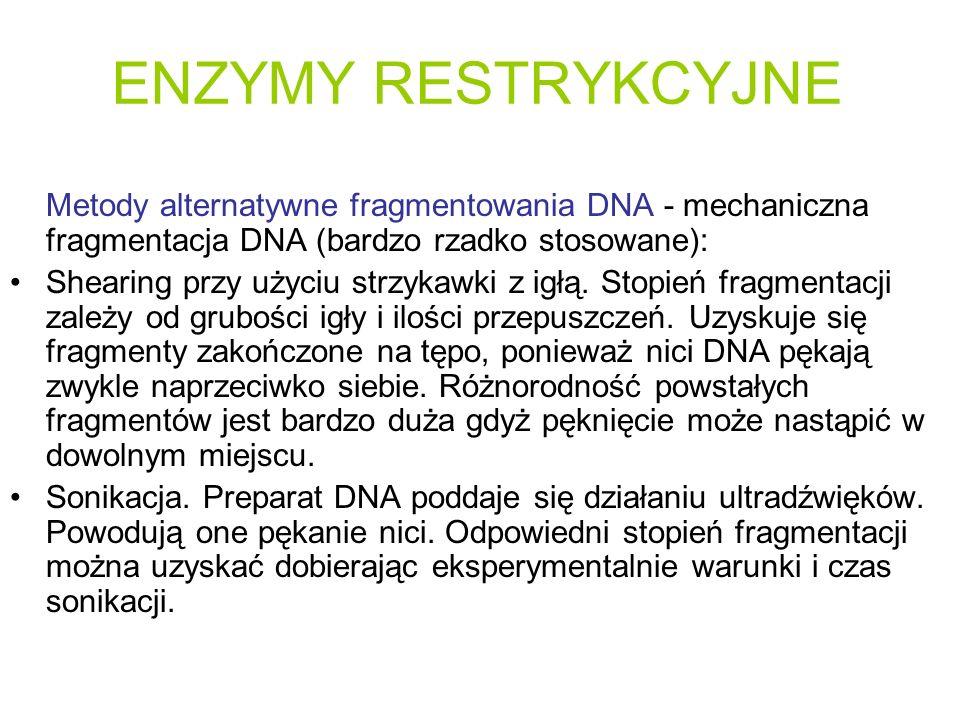 ENZYMY RESTRYKCYJNE Metody alternatywne fragmentowania DNA - mechaniczna fragmentacja DNA (bardzo rzadko stosowane):