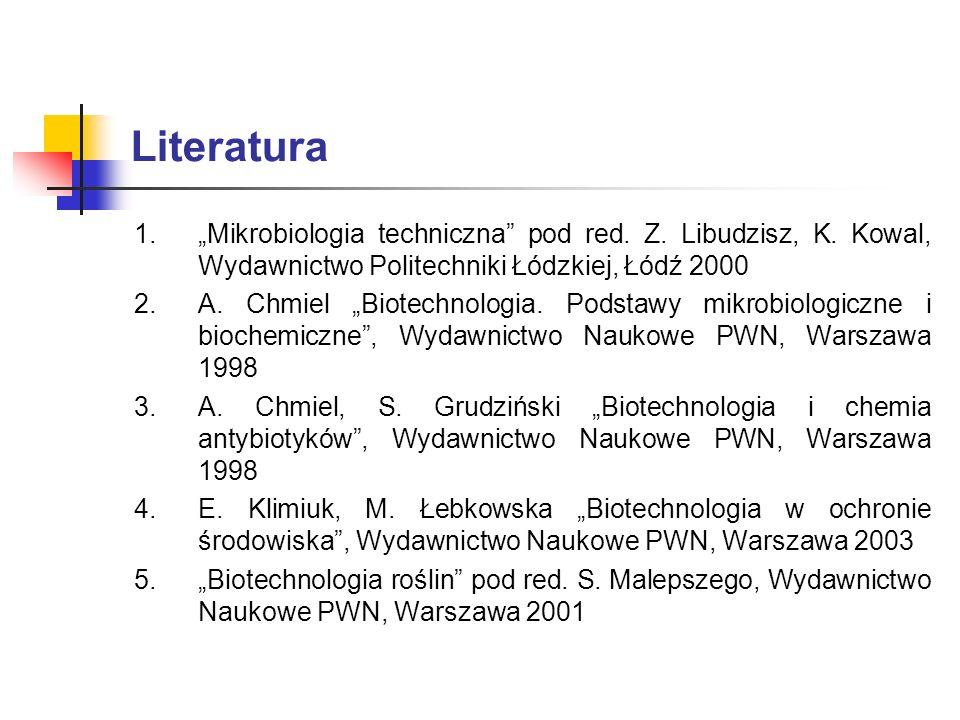 """Literatura """"Mikrobiologia techniczna pod red. Z. Libudzisz, K. Kowal, Wydawnictwo Politechniki Łódzkiej, Łódź 2000."""