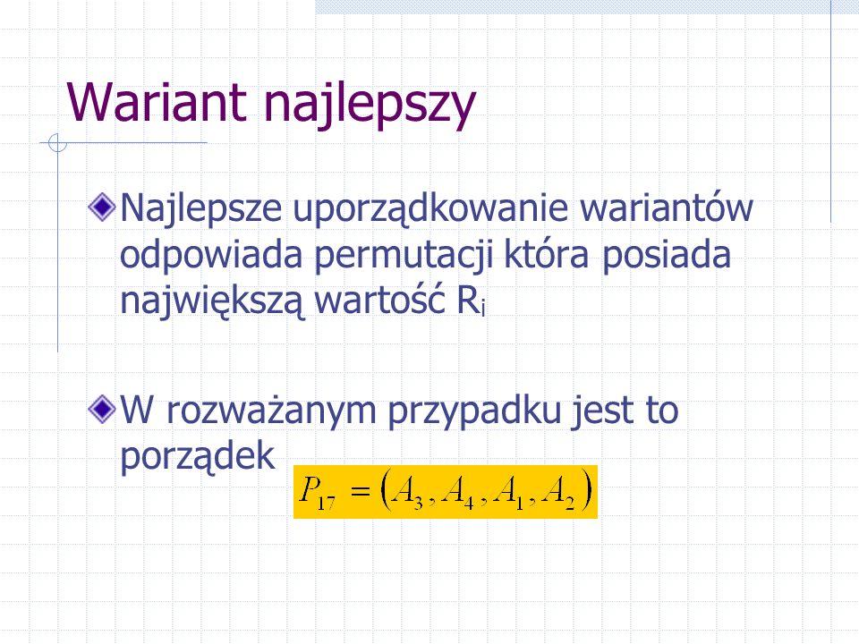 Wariant najlepszy Najlepsze uporządkowanie wariantów odpowiada permutacji która posiada największą wartość Ri.