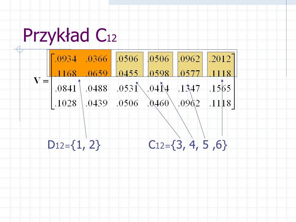 Przykład C12 D12={1, 2} C12={3, 4, 5 ,6}