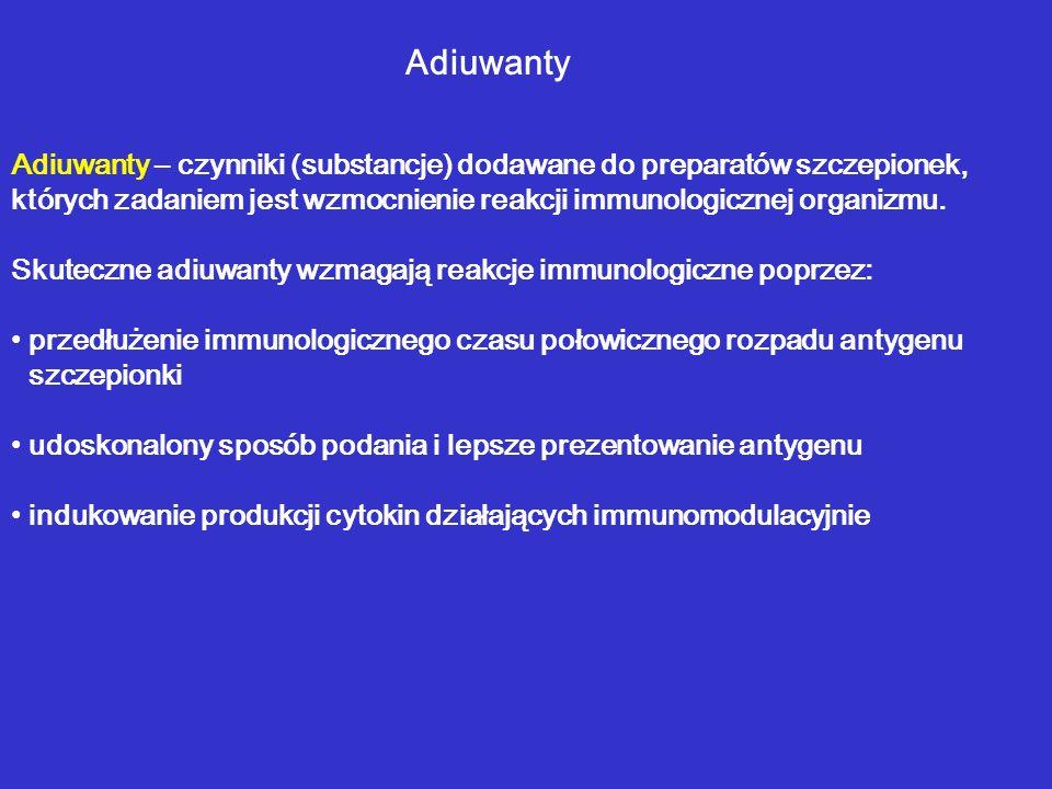 Adiuwanty Adiuwanty – czynniki (substancje) dodawane do preparatów szczepionek, których zadaniem jest wzmocnienie reakcji immunologicznej organizmu.
