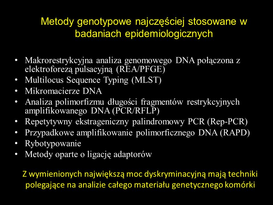 Metody genotypowe najczęściej stosowane w badaniach epidemiologicznych