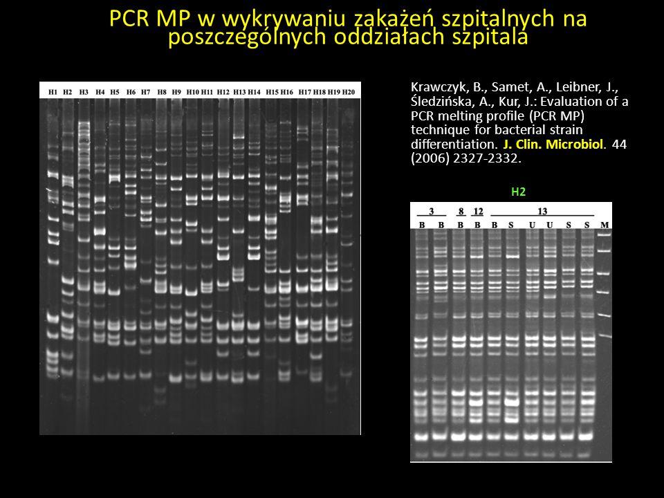 PCR MP w wykrywaniu zakażeń szpitalnych na poszczególnych oddziałach szpitala