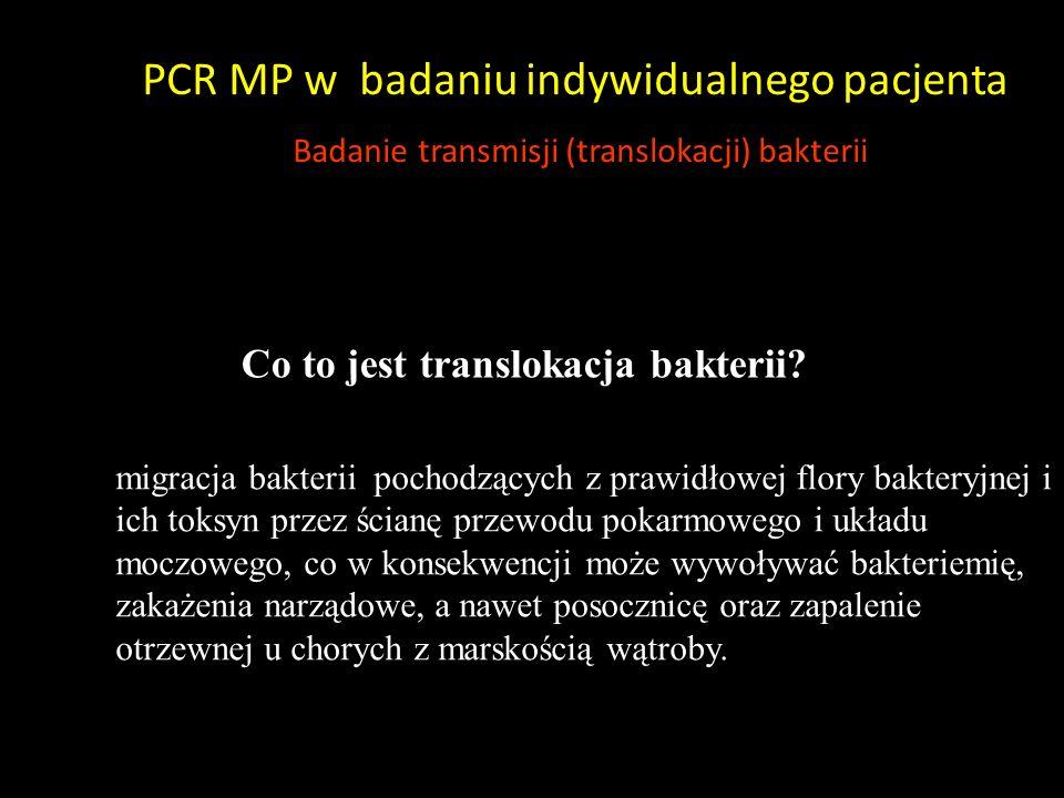 PCR MP w badaniu indywidualnego pacjenta Badanie transmisji (translokacji) bakterii