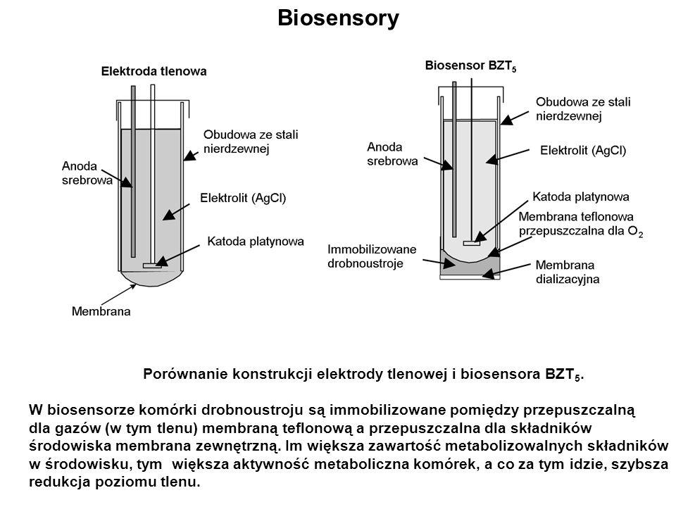 Biosensory Porównanie konstrukcji elektrody tlenowej i biosensora BZT5.