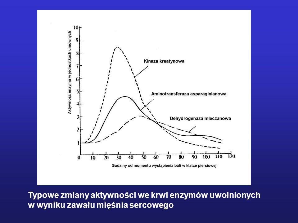 Typowe zmiany aktywności we krwi enzymów uwolnionych