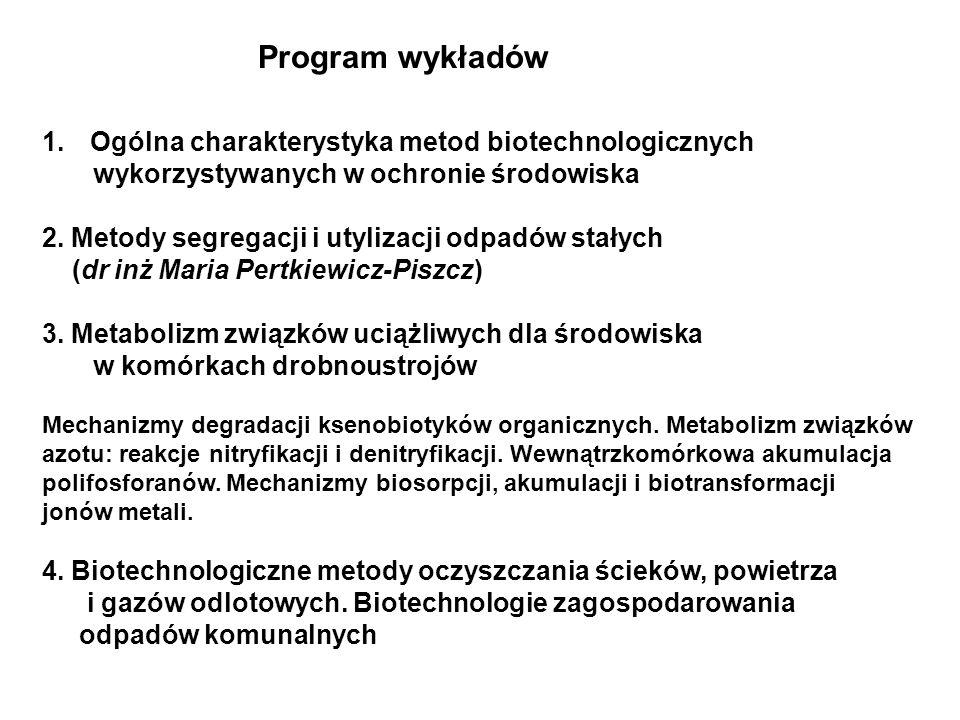 Program wykładów Ogólna charakterystyka metod biotechnologicznych