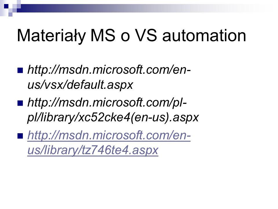 Materiały MS o VS automation