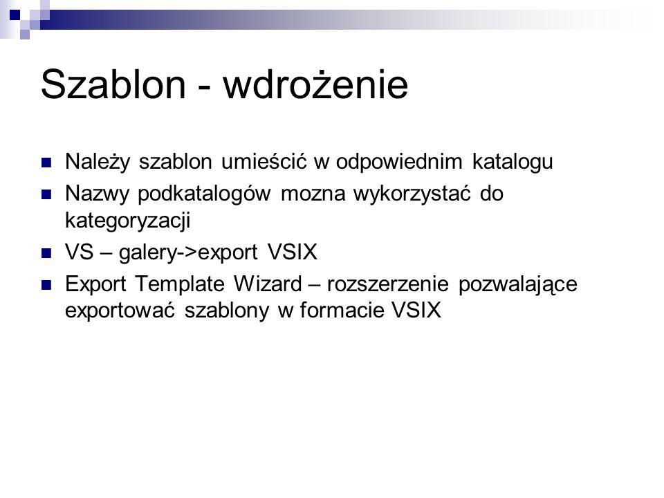 Szablon - wdrożenie Należy szablon umieścić w odpowiednim katalogu