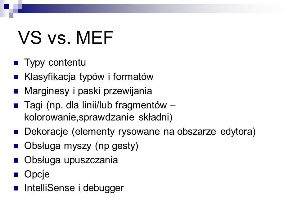 VS vs. MEF Typy contentu Klasyfikacja typów i formatów