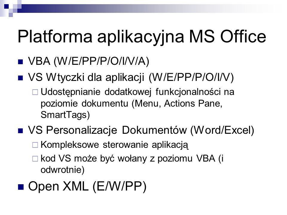Platforma aplikacyjna MS Office