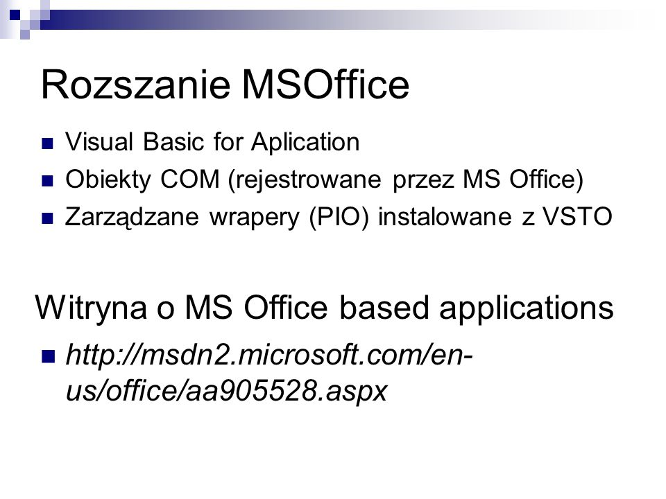 Rozszanie MSOffice Witryna o MS Office based applications