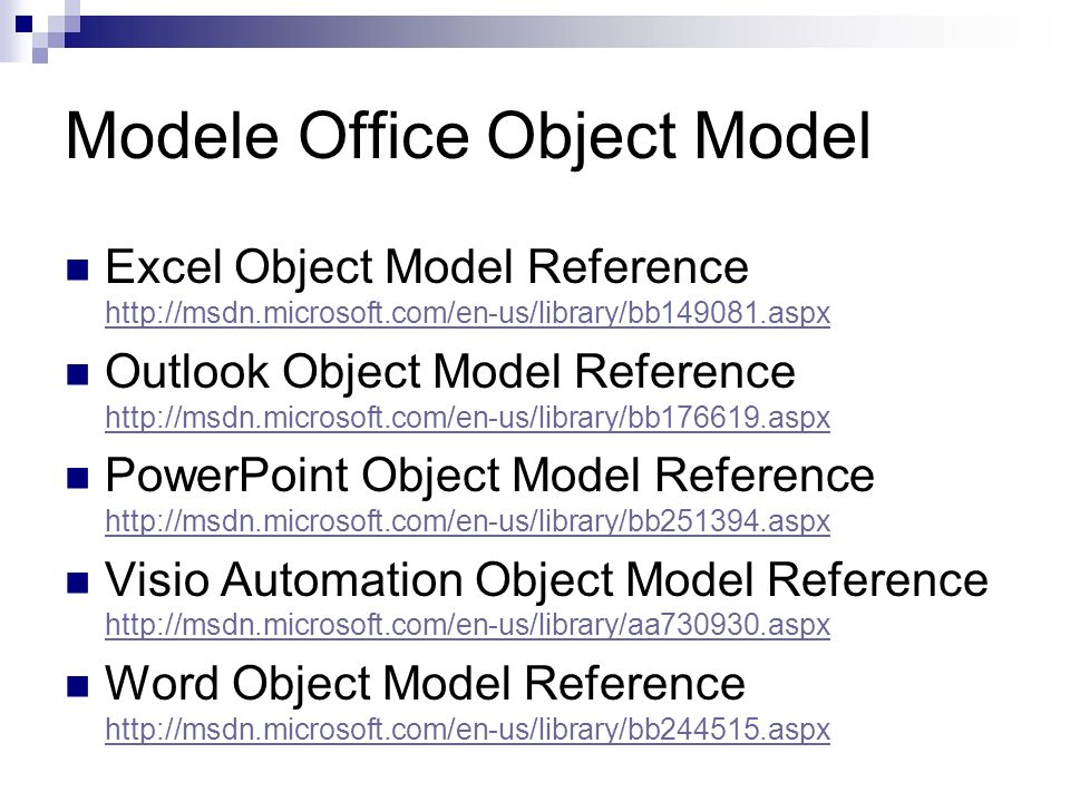 Modele Office Object Model