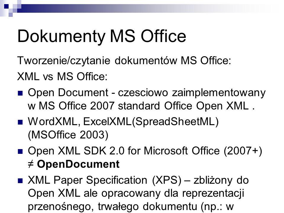 Dokumenty MS Office Tworzenie/czytanie dokumentów MS Office: