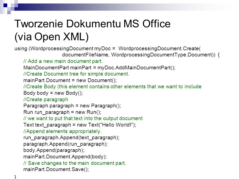 Tworzenie Dokumentu MS Office (via Open XML)
