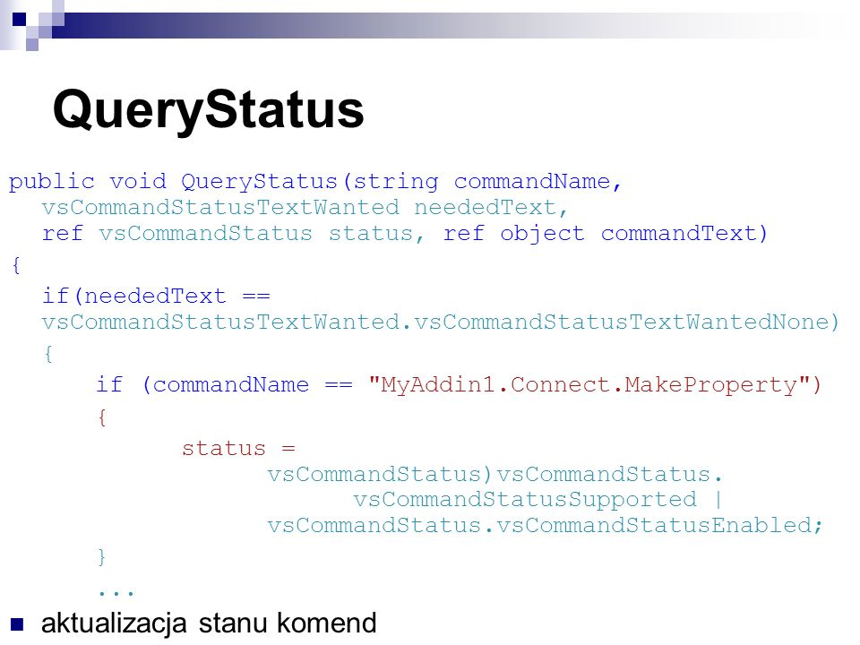 QueryStatus aktualizacja stanu komend