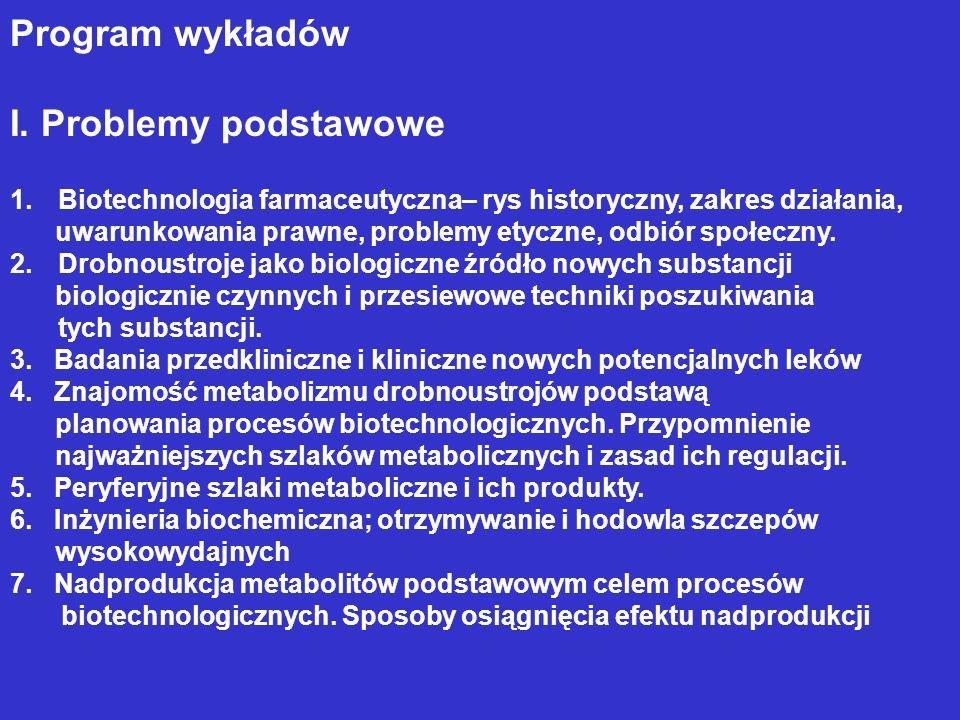 Program wykładów I. Problemy podstawowe