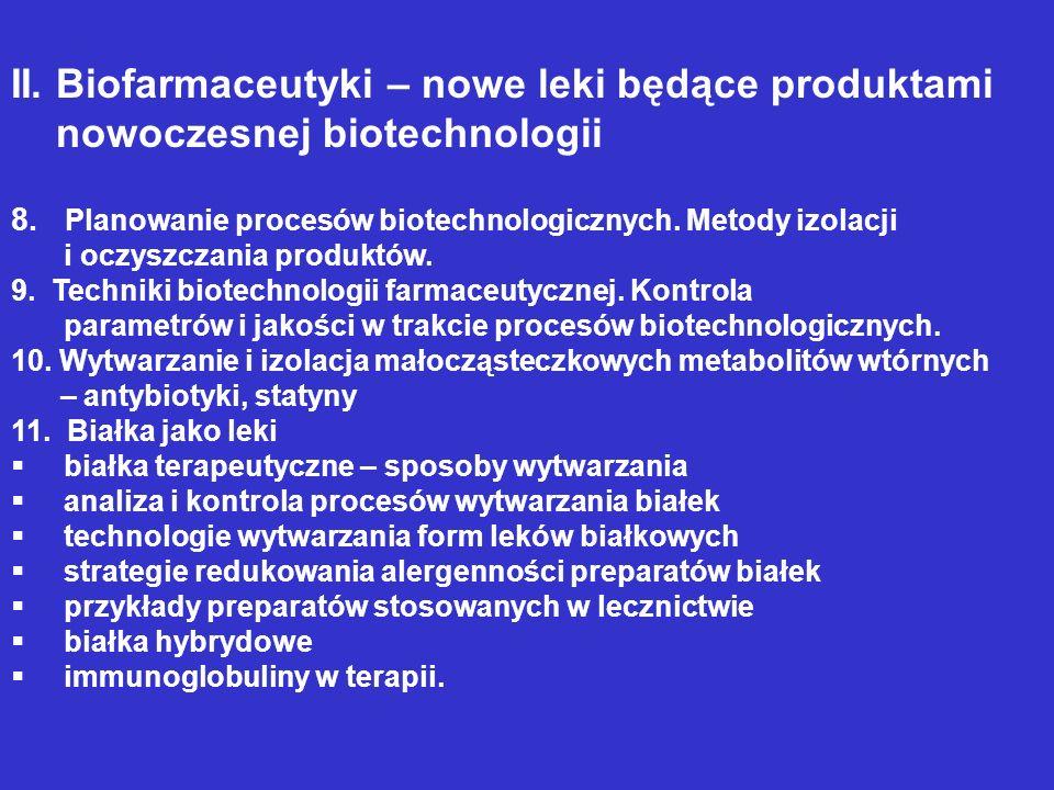 II. Biofarmaceutyki – nowe leki będące produktami