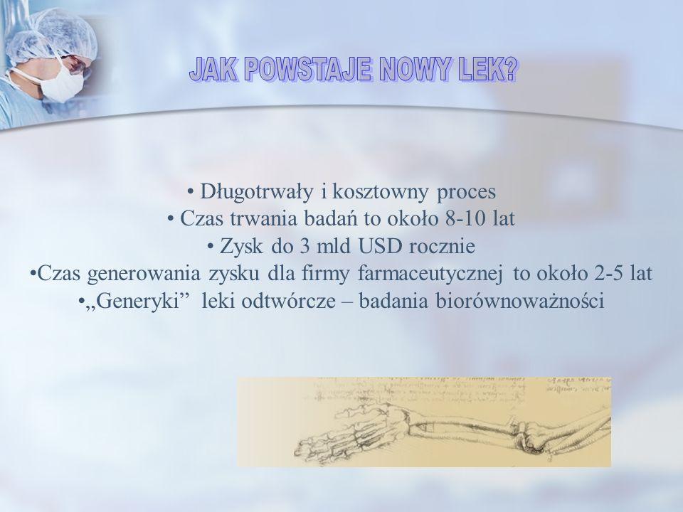 Długotrwały i kosztowny proces Czas trwania badań to około 8-10 lat