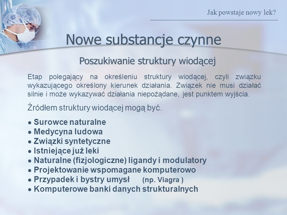 Nowe substancje czynne