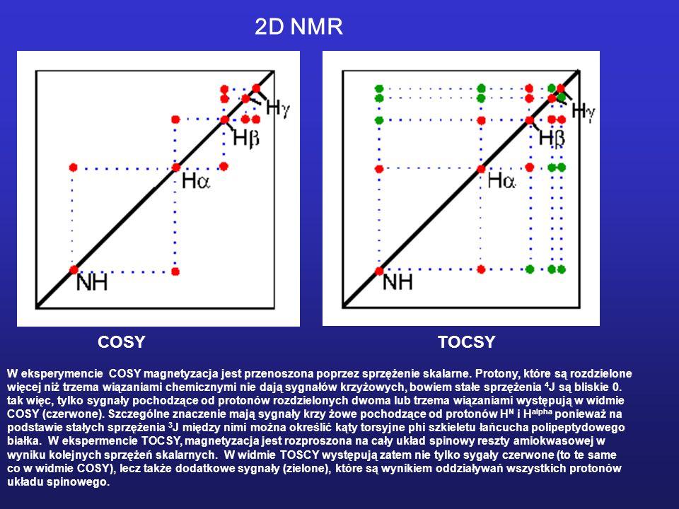 2D NMR COSY TOCSY. W eksperymencie COSY magnetyzacja jest przenoszona poprzez sprzężenie skalarne. Protony, które są rozdzielone.