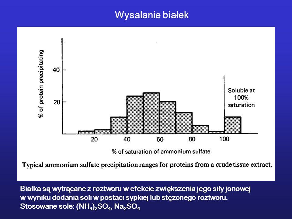 Wysalanie białekBiałka są wytrącane z roztworu w efekcie zwiększenia jego siły jonowej.