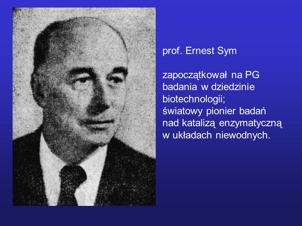 prof. Ernest Symzapoczątkował na PG. badania w dziedzinie. biotechnologii; światowy pionier badań. nad katalizą enzymatyczną.