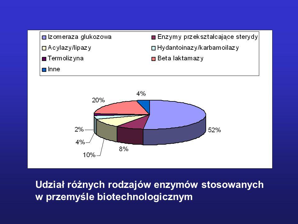 Udział różnych rodzajów enzymów stosowanych