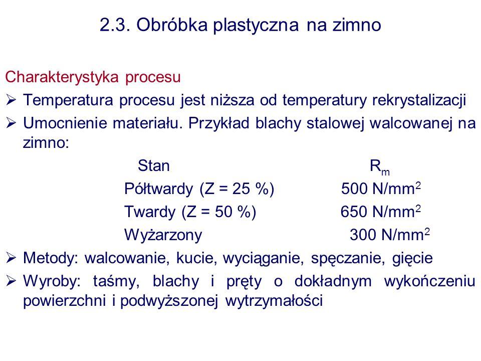 2.3. Obróbka plastyczna na zimno